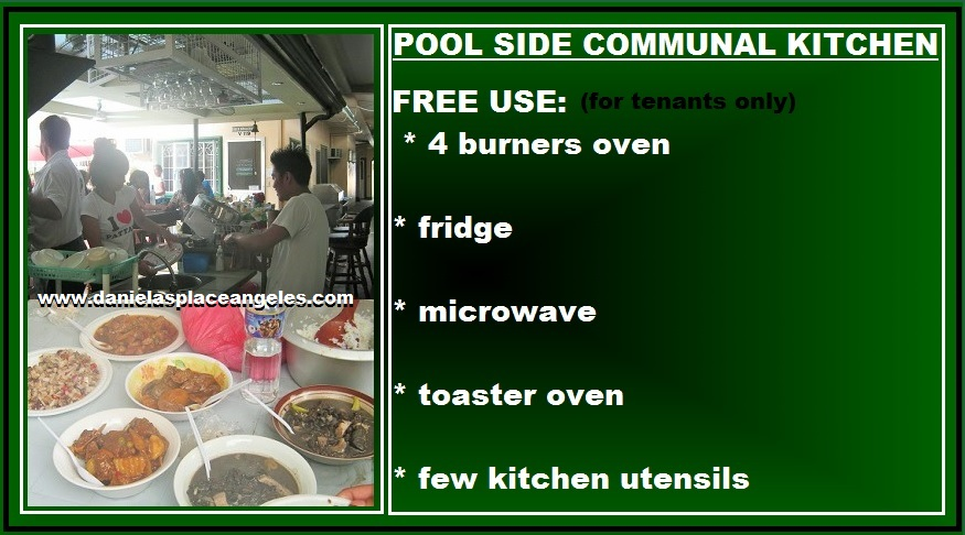 danielas place free communal kitchen use by swimming pool hang out budget price hotel in angeles city philippines