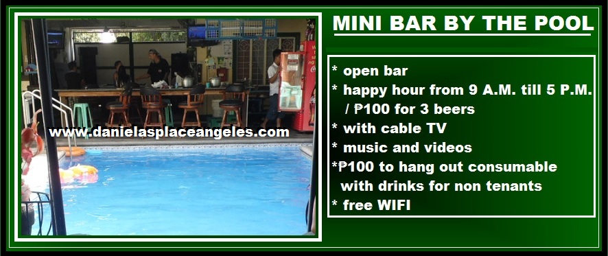 danielas place on promo cheap mini bar by swimming pool hang out budget price hotel in angeles city philippines