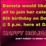 dANIELAS PLACE CHIRSTMAS PARTY AND BIRTHDAY PARTY 2014